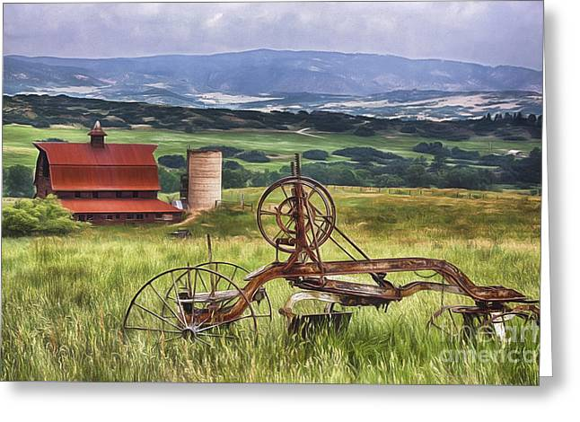 Old Digital Art Greeting Cards - Farming in Days Gone By Greeting Card by Priscilla Burgers