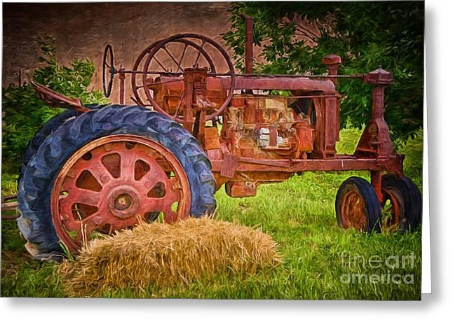 Hay Bales Greeting Cards - Farming in Hanksville Utah Greeting Card by Priscilla Burgers