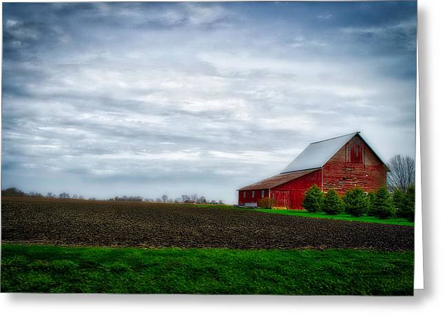 Farming Red Barn On A Quite Spring Day Greeting Card by Thomas Woolworth