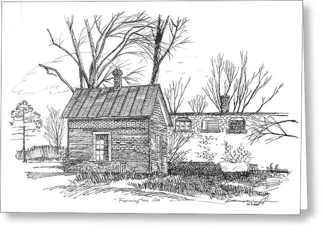 Pen And Ink Rural Drawings Greeting Cards - Farmington Line Shack Greeting Card by Peter Muzyka