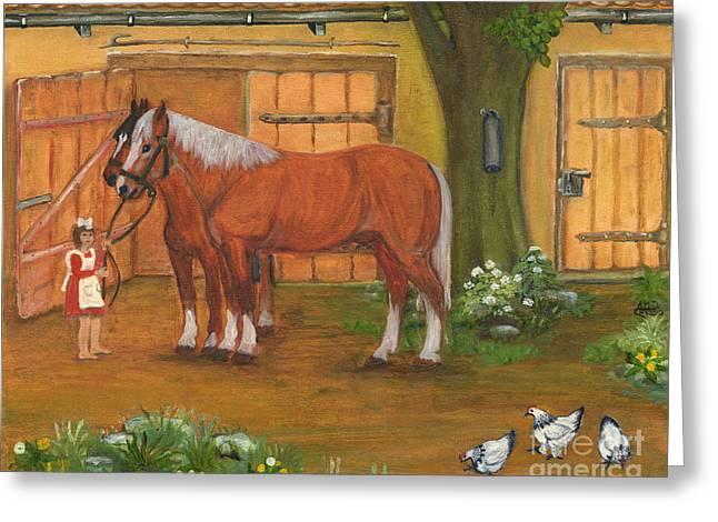 Farmyard Greeting Card by Anna Folkartanna Maciejewska-Dyba