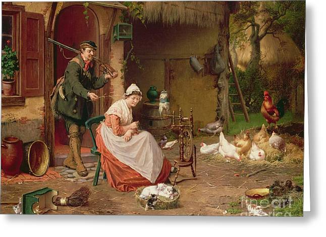 Cockerel Greeting Cards - Farmyard Scene Greeting Card by Jan David Cole