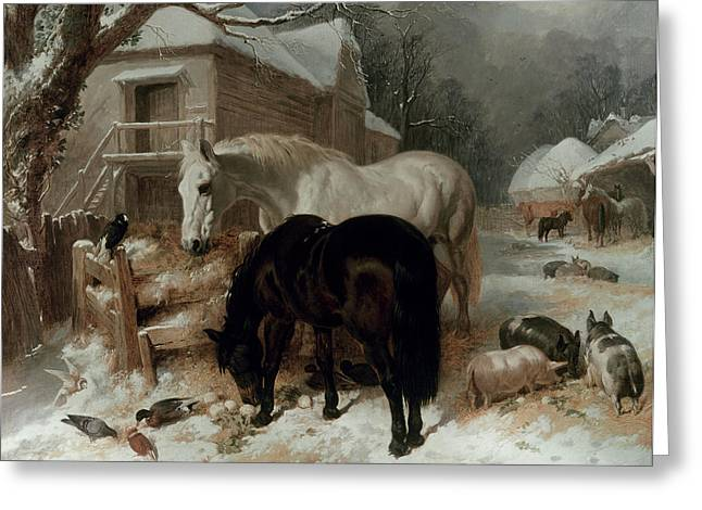 Winter Scenes Rural Scenes Greeting Cards - Farmyard Scene Greeting Card by John Frederick Herring Snr