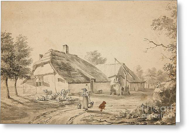 Balthasar Greeting Cards - Farmyard with a Woman Carrying Water and a Flock of Sheep Greeting Card by Balthasar Paul Ommeganck