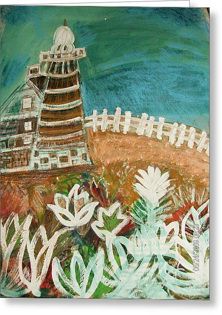 Crooked Fence Greeting Cards - Faro un Poquito Torcida Con Valla Greeting Card by Anne-Elizabeth Whiteway