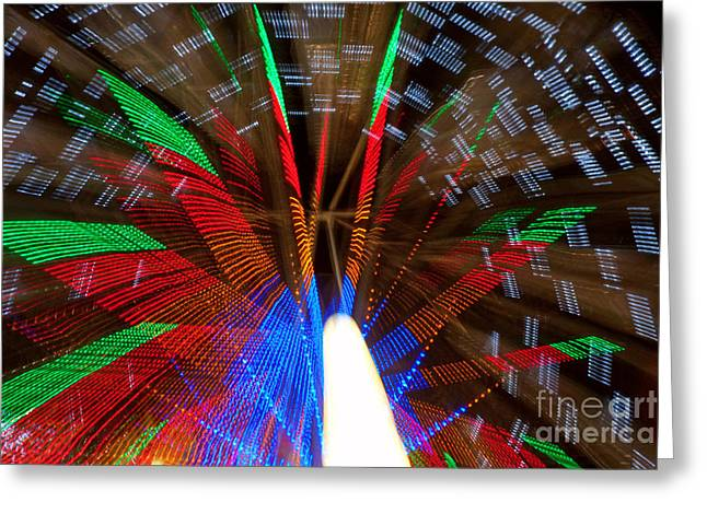 Lightning Photographs Greeting Cards - Farris Wheel Light Abstract Greeting Card by James BO  Insogna
