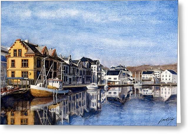 Farsund Dock Scene 2 Greeting Card by Janet King