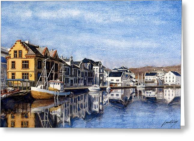 Janet King Greeting Cards - Farsund Dock Scene 2 Greeting Card by Janet King
