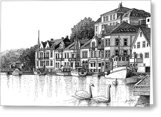 Farsund Greeting Cards - Farsund Harbor in ink Greeting Card by Janet King