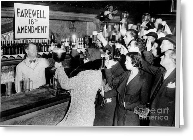 Prohibition Greeting Cards - Farwell 18th Amendment Greeting Card by Jon Neidert
