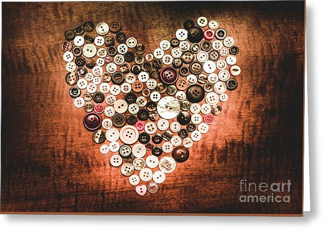 Fashion Button Love Greeting Card by Jorgo Photography - Wall Art Gallery
