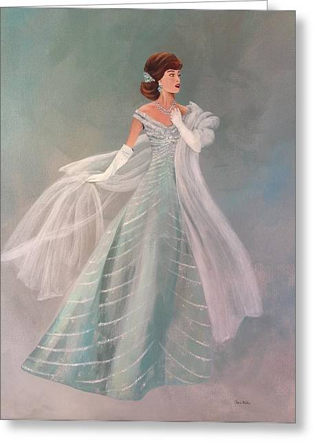 Ball Gown Paintings Greeting Cards - Fashion Illustration Vintage Fashion Fifties Style  Vintage Style Greeting Card by Cheri Miller