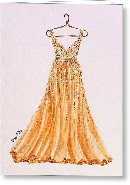 Ball Gown Paintings Greeting Cards - Fashion Illustration - Golden Girl Greeting Card by Cheri Miller