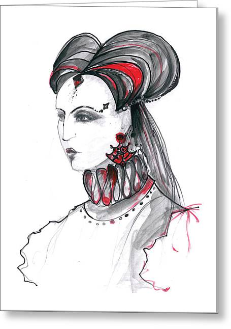 Woman Head Greeting Cards - Fashion illustration in watercolor Greeting Card by Marian Voicu