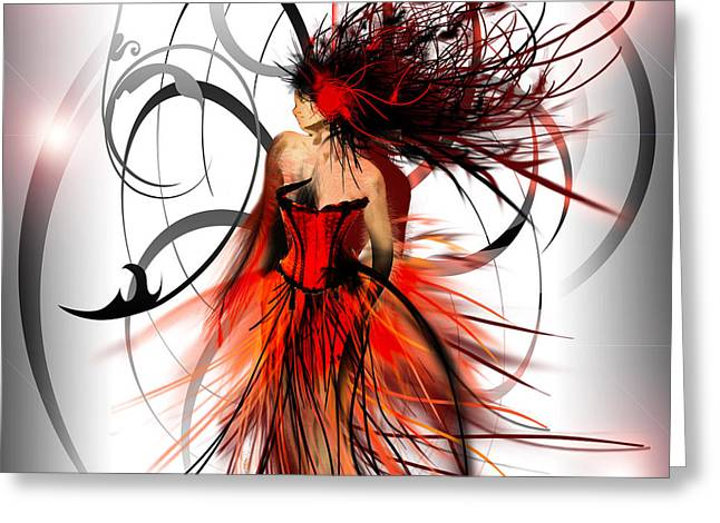Evening Dress Mixed Media Greeting Cards - Fashion Greeting Card by Liane Kay