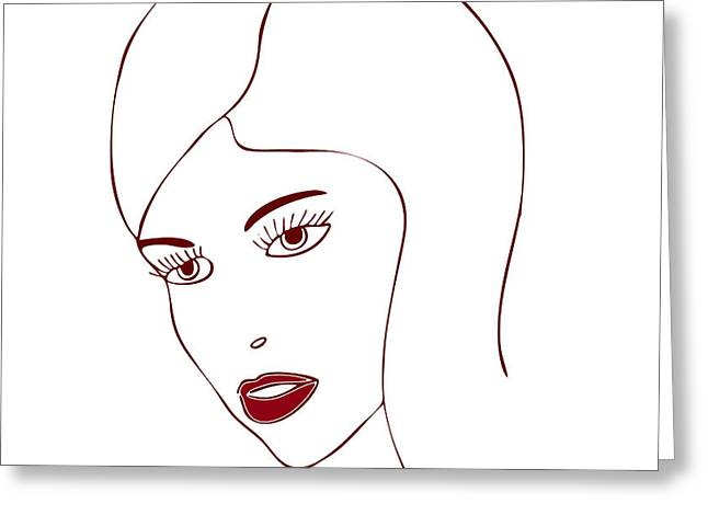 Catwalk Drawings Greeting Cards - Fashion Model Greeting Card by Frank Tschakert