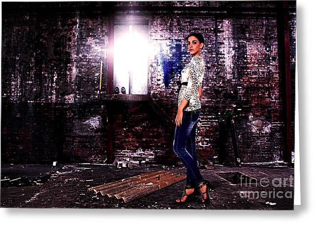 Full-length Portrait Greeting Cards - Fashion Model in Jeans  Greeting Card by Milan Karadzic