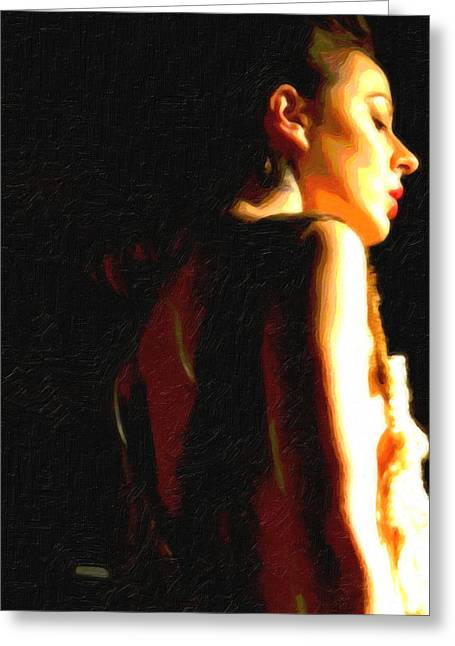 Low-cut Dress Greeting Cards - Fashion model wearing dress with low cut back Greeting Card by Barbara Budish