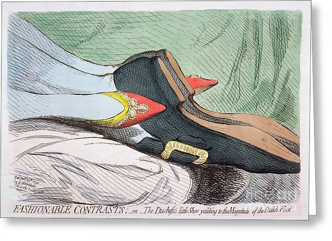 1820 Greeting Cards - Fashionable Contrasts Greeting Card by James Gillray