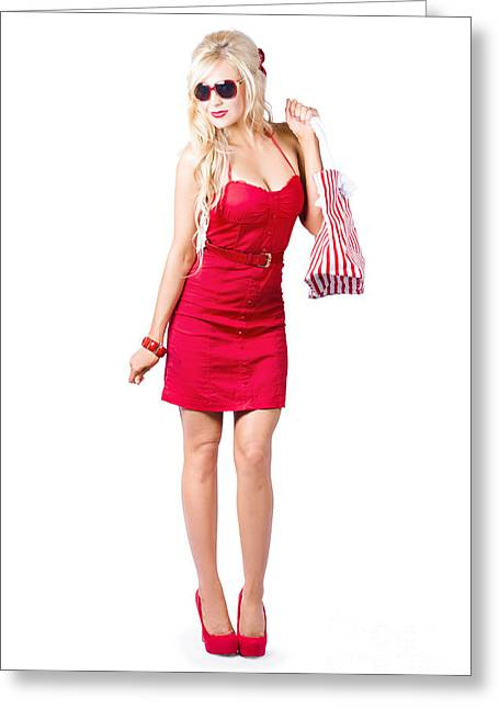 Shoulder Bag Greeting Cards - Fashionable woman shopping Greeting Card by Ryan Jorgensen