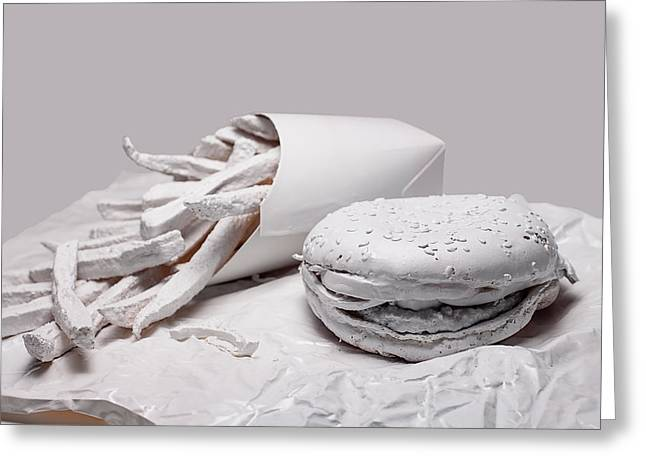 Hamburger Photographs Greeting Cards - Fast Food - Burger and Fries Greeting Card by Tom Mc Nemar