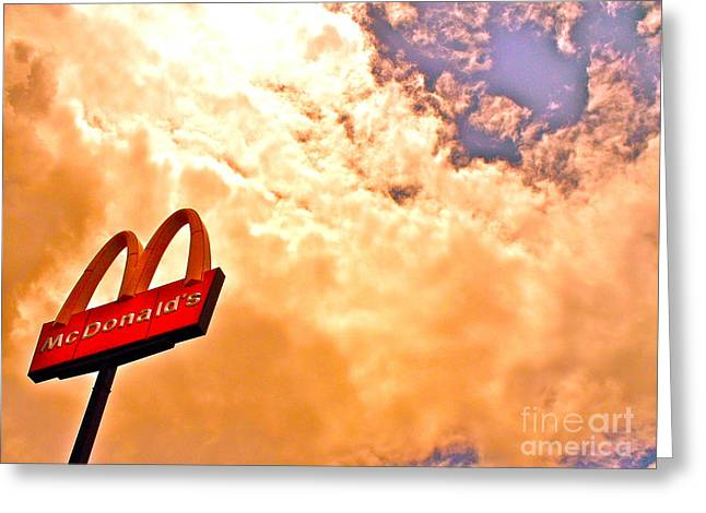 Hamburger Greeting Cards - Fast Food Fast Clouds Greeting Card by Chuck Taylor