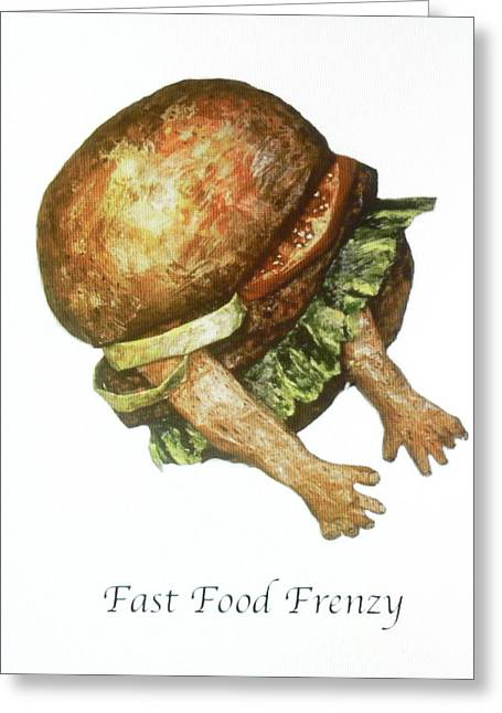 Fast Food Mixed Media Greeting Cards - Fast Food Frenzy Greeting Card by Betty OHare
