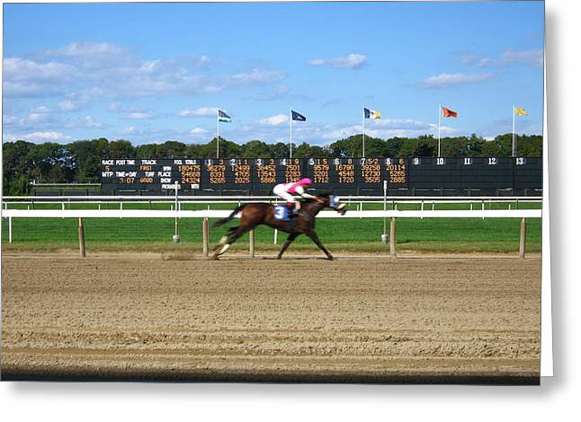 Belmont Stakes Greeting Cards - Fast Greeting Card by Kenneth Summers