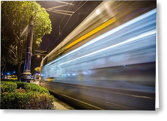 Exposure Greeting Cards - Fast Moving Istanbul Tram Greeting Card by Anthony Doudt