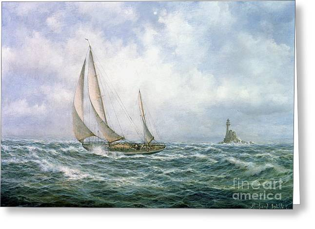 Water Vessels Greeting Cards - Fastnet Abeam Greeting Card by Richard Willis
