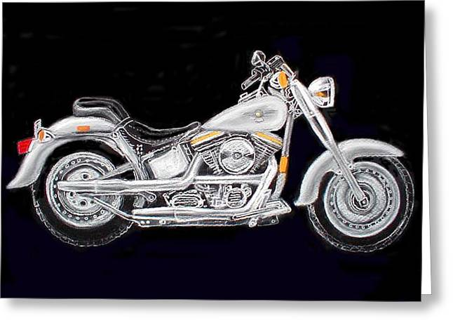 Motorcycles Pastels Greeting Cards - Fat Boy Greeting Card by Ginna Viveros