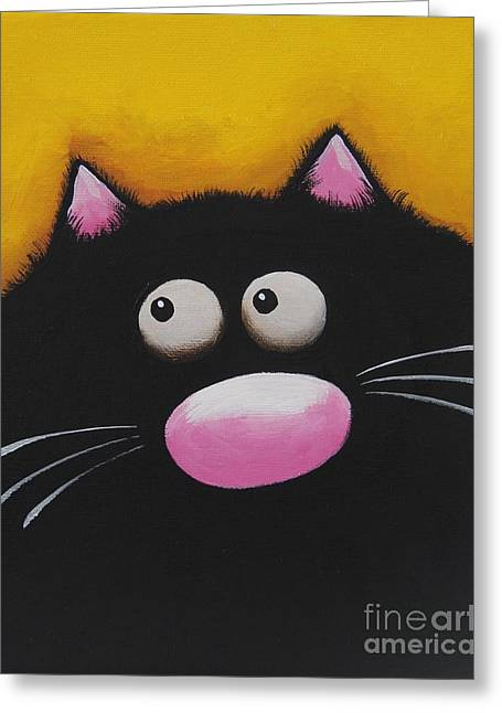 Kitty Kat Greeting Cards - Fat Cat in yellow Greeting Card by Lucia Stewart
