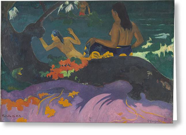 Famous Artist Greeting Cards - Fatata Te Miti - by the Sea Greeting Card by Paul Gauguin