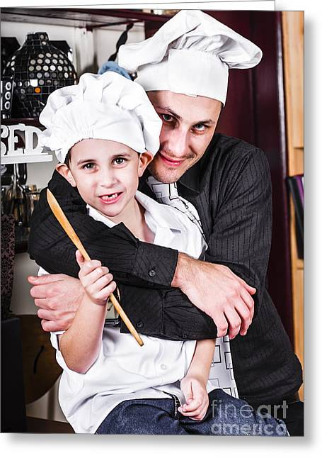 Family Time Greeting Cards - Father and child spending quality time cooking Greeting Card by Ryan Jorgensen