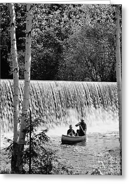Father And Son Canoeing, C.1960-70s Greeting Card by H. Armstrong Roberts/ClassicStock