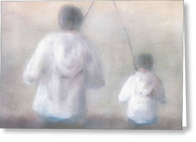 Father And Son Greeting Cards - Father and Son Fishing Greeting Card by Alan Daysh