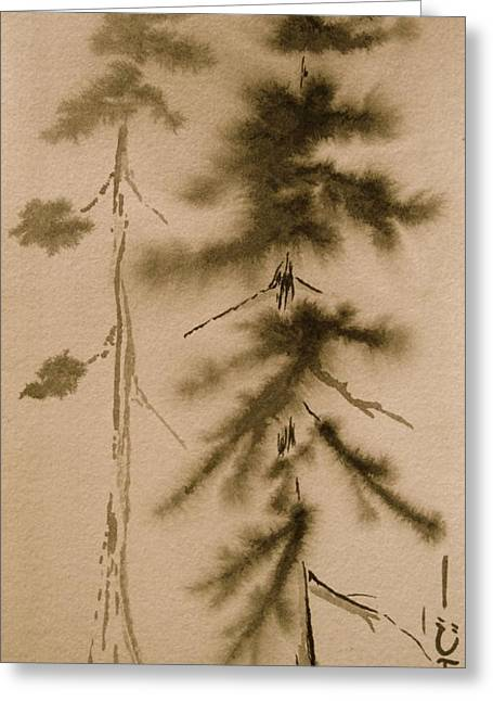 Sumi Greeting Cards - Father and Son Greeting Card by Jeff DOttavio