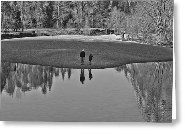 Father And Son Reflected Greeting Card by Priya Ghose