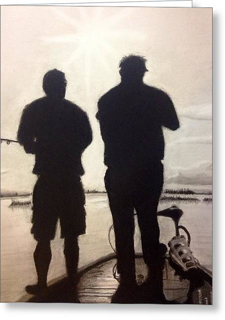 Bonding Drawings Greeting Cards - Father and Son Greeting Card by Tony Holm