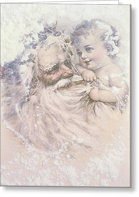Father Christmas And A Child Greeting Card by English School
