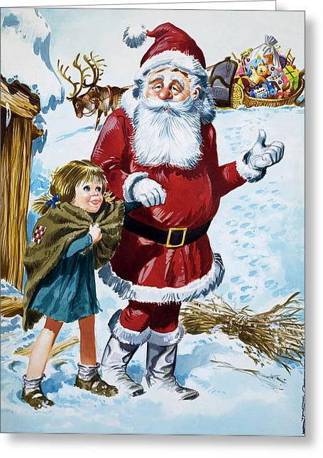 Nicholas Greeting Cards - Father Christmas Greeting Card by Jose Ortiz