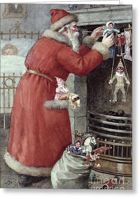 Present Paintings Greeting Cards - Father Christmas Greeting Card by Karl Roger