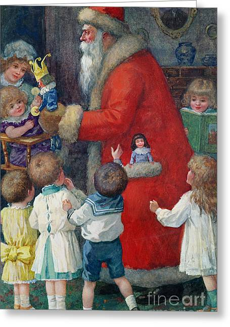Present Paintings Greeting Cards - Father Christmas with Children Greeting Card by Karl Roger