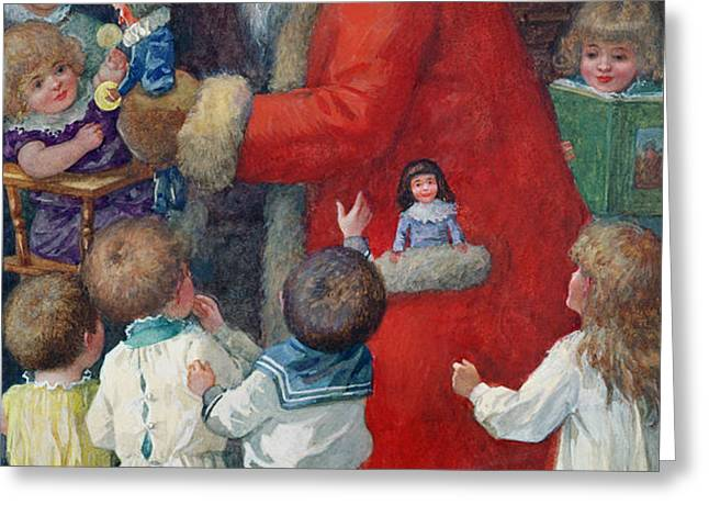 Father Christmas with Children Greeting Card by Karl Roger