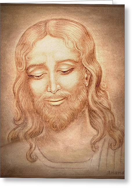Orthodox Drawings Greeting Cards - Father Forgive them  Greeting Card by Ananda Vdovic