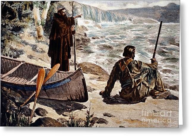 Canoe Paintings Greeting Cards - Father Louis Hennepin Greeting Card by Granger
