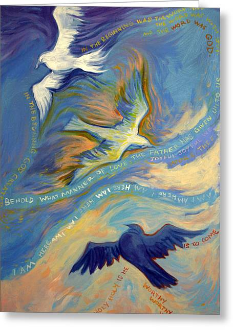 Prince Of Peace Greeting Cards - Father Son and Holy Spirit Greeting Card by Jill Iversen