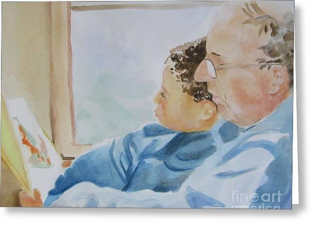 Biracial Art Greeting Cards - Fatherhood Greeting Card by Haley Jula