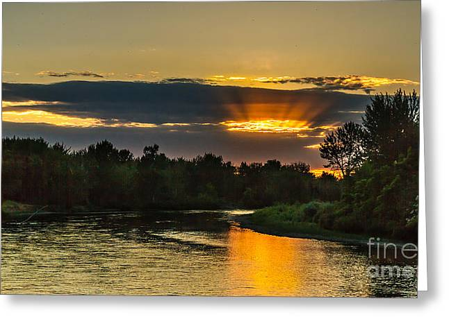 Mountain Valley Greeting Cards - Fathers Day Sunset Greeting Card by Robert Bales