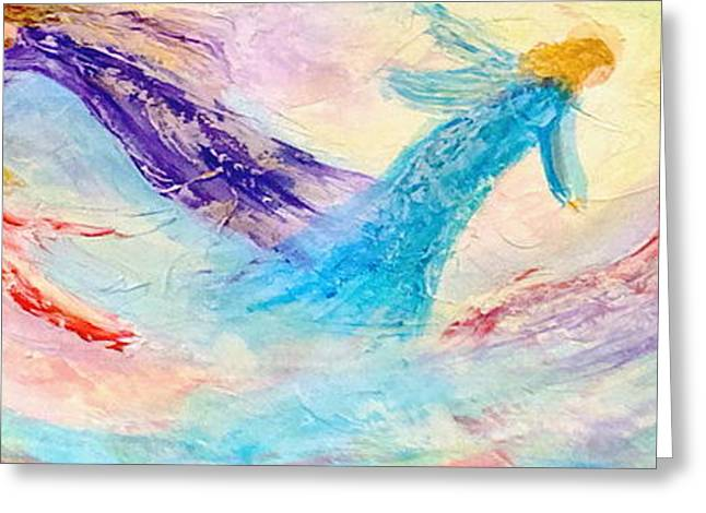 Angel Blues Greeting Cards - Fathers Heart Angels Greeting Card by Deborah Brown Maher